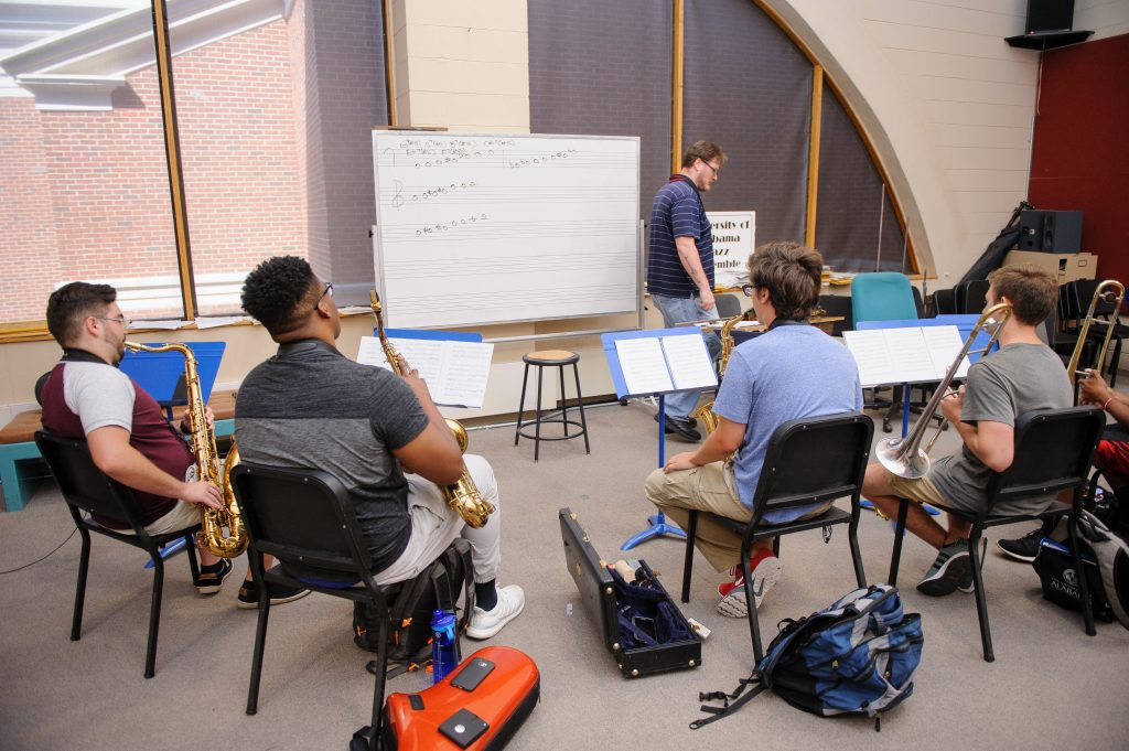students practicing in the Moody Music Building